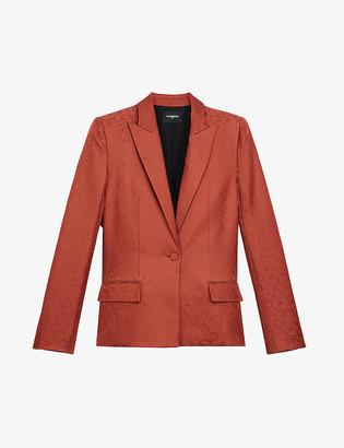 The Kooples Paisley-jacquard silk-satin suit jacket
