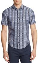 BOSS GREEN Windowpane Check Slim Fit Button Down Shirt