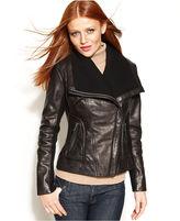 Leather Knit-Trim Motorcycle Jacket