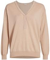 Brunello Cucinelli Monili-Trim Henley Cashmere Sweater