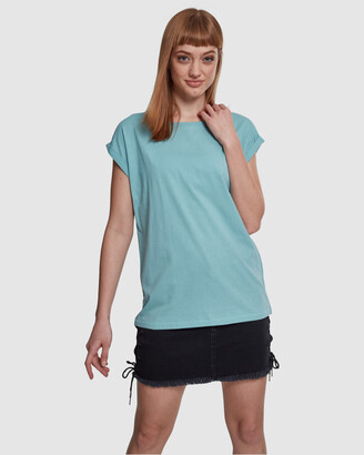 Urban Classics Women's Blue Basic T-Shirts - UC Ladies Extended Shoulder Tee - Size One Size, M at The Iconic
