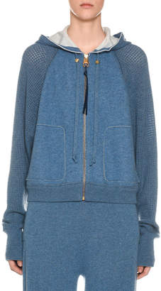 Agnona Cashmere Netted-Sleeve Zip-Front Hoodie