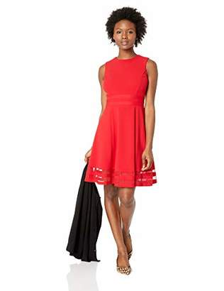 Calvin Klein Women's Petite Sleeveless Fit and Flare Dress with Sheer Inserts