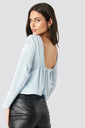 NA-KD Oxford Long Sleeve Shirt With Open Back Blue