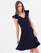 Wallis Ruffle Cap Sleeve Fit-and-Flare Dress
