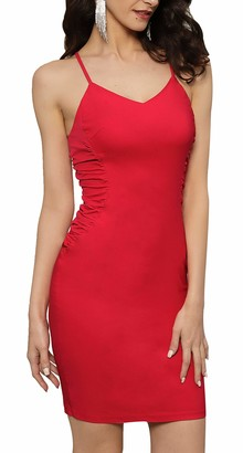 Liumilac Women's Midi Dresses V Neck Ruched Sleeveless Kneee Length Party Evening Dress