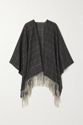Rag & Bone Fringed Checked Wool Wrap - Dark gray