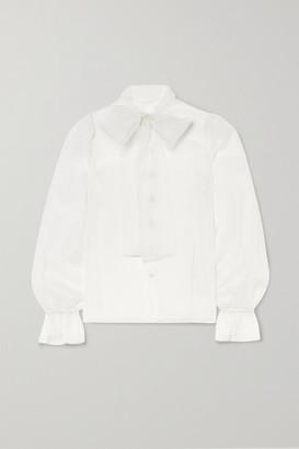 Dolce & Gabbana Pussy-bow Silk-organza Blouse - White