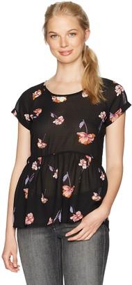 Jolt Women's Floral Print Peplum Blouse with Criss-Cross
