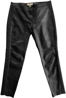 Burberry Black Leather Trousers