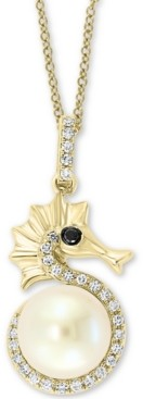 """Effy Cultured Freshwater Pearl (8mm) & Diamond (1/6 ct. t.w.) Seahorse 18"""" Pendant Necklace in 14k Gold"""