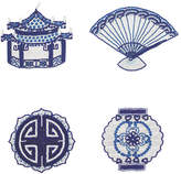 Kim Seybert Set of 4 Ming Coasters - Indigo/White