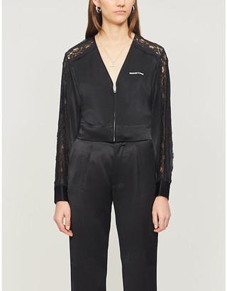 The Kooples Sport Lace-panel crepe jacket