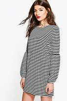 boohoo Tabbie Flute Sleeve Stripe Shift Dress multi