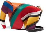 Loewe Elephant Striped Leather Shoulder Bag - Red