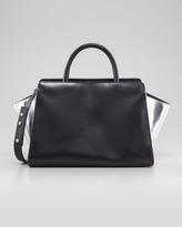 Z Spoke Zac Posen Eartha East-West Leather Satchel Bag, Black/Silver