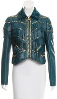 Versace Leather Fur-Trimmed Jacket w/ Tags