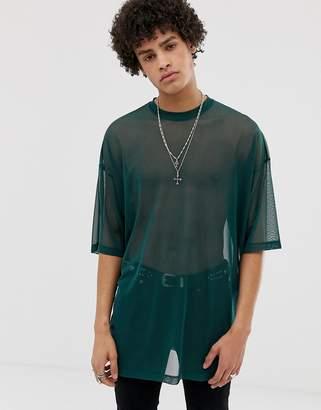 Asos Design DESIGN oversized super longline t-shirt with half sleeve in sheer mesh-Green