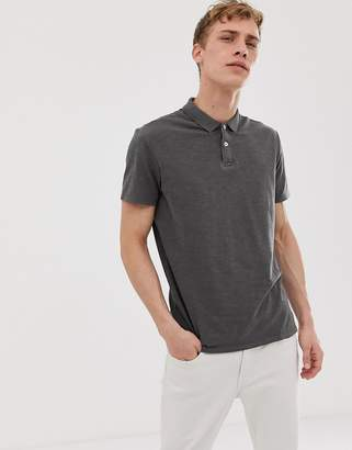 Selected polo shirt in overdyed wash-Gray