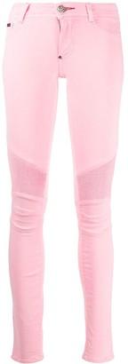 Philipp Plein Mid-Rise Ribbed Skinny Jeans