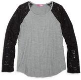 Aqua Girls' Lace Sleeve Top - Sizes S-XL
