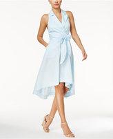 Marled Striped High-Low Wrap Dress