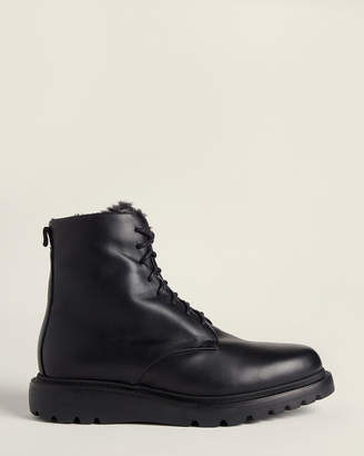 Aquatalia Black Charles Shearling-Lined Leather Boots