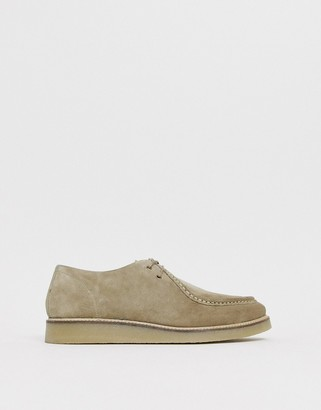 Asos DESIGN lace up shoes in stone suede