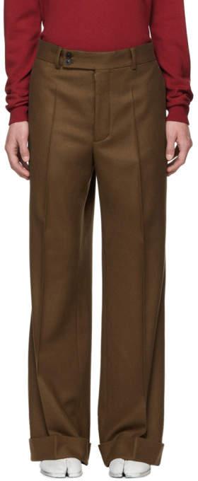 Maison Margiela Brown Wool Flannel Trousers