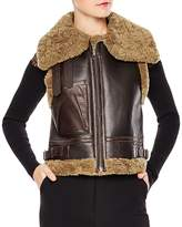 Sandro Salome Real Lamb Shearling & Leather Vest