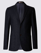 Marks And Spencer Wool Blend Tailored Fit Two Tone 2 Button Jacket With Buttonsafetm