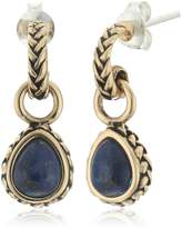 Barse Bronze and Genuine Lapis Teardrop Earrings