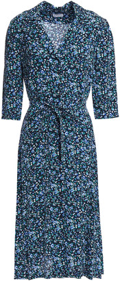 Claudie Pierlot Belted Floral-print Crepe Shirt Dress