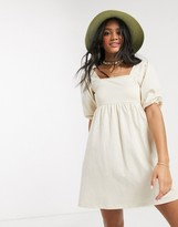 Asos Design DESIGN square neck puff sleeve smock dress in cream