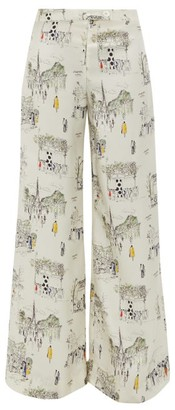 La Prestic Ouiston Giudecca Paris-print Silk-twill Trousers - White Multi