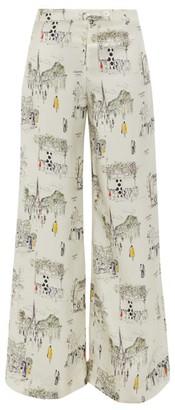 La Prestic Ouiston Giudecca Paris-print Silk-twill Trousers - Womens - White Multi