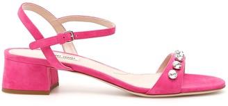 Miu Miu Crystal Strap Suede Sandals