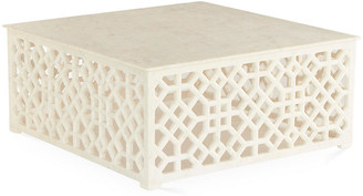 Global Views Marble Fret Coffee Table - Ivory