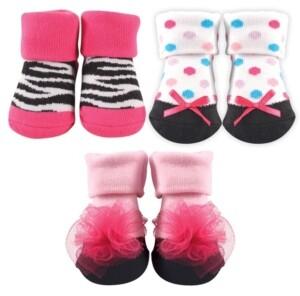 Luvable Friends Socks Gift Set, 3-Pack, Zebra and Flower, 0-9 Months
