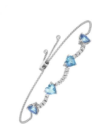 My Story Blue Topaz Heart and Diamond White Gold Bracelet
