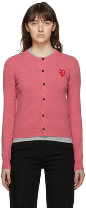 Comme des Garcons Pink Layered Heart Cardigan