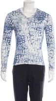 Versace Silk V-Neck Long Sleeve T-Shirt
