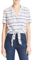 Equipment Women's Keira Tie Front Stripe Cotton Shirt