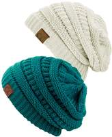 C&C C.C Trendy Warm Chunky Soft Stretch Cable Knit Beanie Skully, 2 Pack