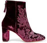 Alexandre Birman Regina Flocked Velvet Ankle Boots - Merlot