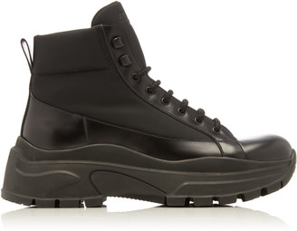 Prada Leather and Shell Ankle Boots