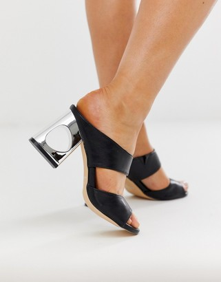 Co Wren block heeled mules-Black