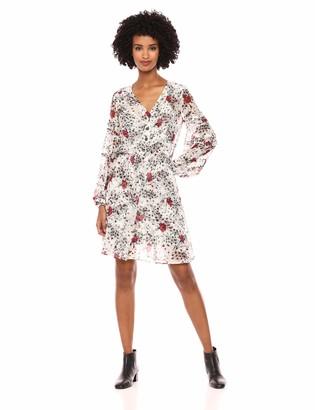 The Kooples Women's Women's V-Neck Dress Flying Flowers Print