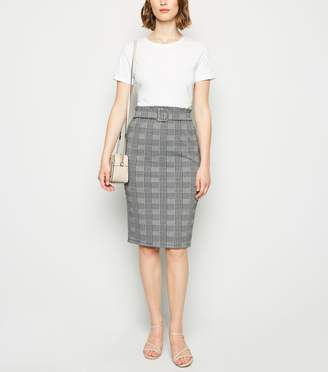 New Look Light Check High Waist Midi Skirt
