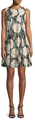 Gabby Skye Floral Lace Sleeveless Dress